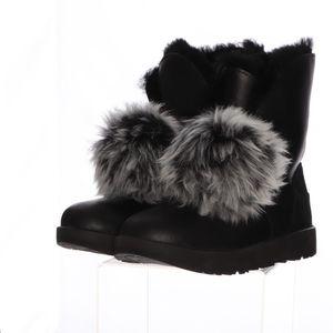 Ugg Vibram Waterproof Black Pom Boots Womens 10